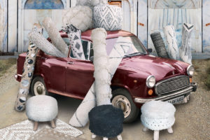 Car decorated with rugs from The Rug Republic